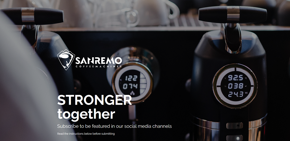 sanremo coffee machine, stronger together